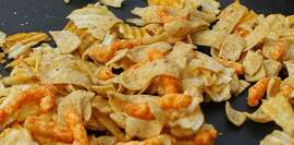 A mixture of salty snacks and chips is shown left on a table in Pittsburgh's Market Square on Tuesday, Feb. 7, 2012. In a government report released Tuesday, Feb. 7, 2012, that includes a list of the top 10 sources of sodium. Salty snacks actually came in at the bottom of the list compiled by the Centers for Disease Control and Prevention while bread and rolls are the No. 1 source of salt in the American diet, accounting for more than twice as much sodium as salty junk food like potato chips. (AP Photo/Keith Srakocic)
