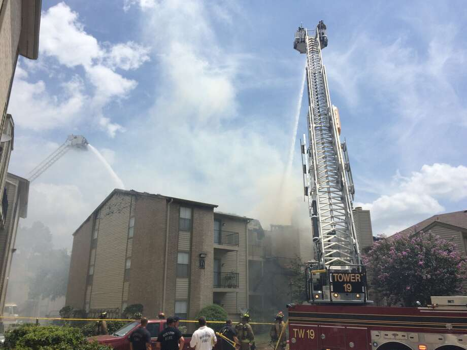 A fire broke out about 11:30 a.m. Tuesday, July 5, 2016, at an apartment complex at 17750 Eastex Freeway near Will Clayton Parkway. (HoustonChronicle/Brett Coomer)