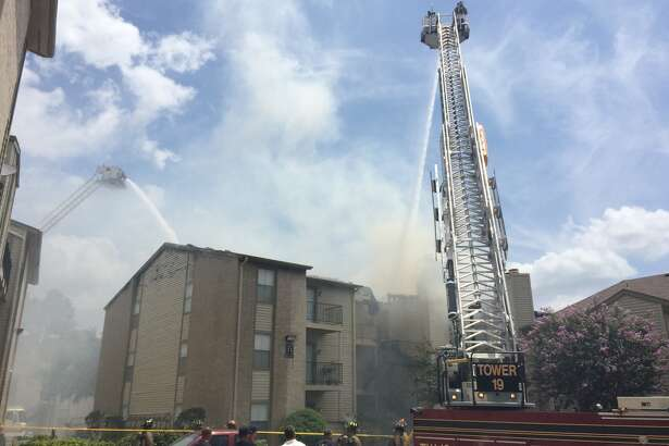 The blaze broke out about 11:30 a.m. Tuesday, July 5, 2016, at 17750 Eastex Freeway near Will Clayton Parkway. (HoustonChronicle/Brett Coomer)
