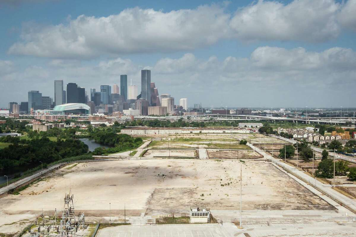 The136-acre site formerly occupied by KBR sits empty under the downtown skyline, Thursday, Aug. 2, 2012, in Houston. The property came on the market in June, creating the opportunity for a major redevelopment to take place just east of the central business district.