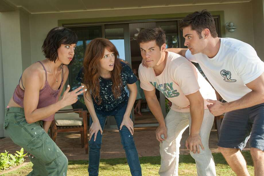 Tatiana (Aubrey Plaza) and Alice (Anna Kendrick) get to know their dates, Mike (Adam Devine) and Dave (Zac Efron). (Gemma LaMana) Photo: Gemma LaMana, TNS