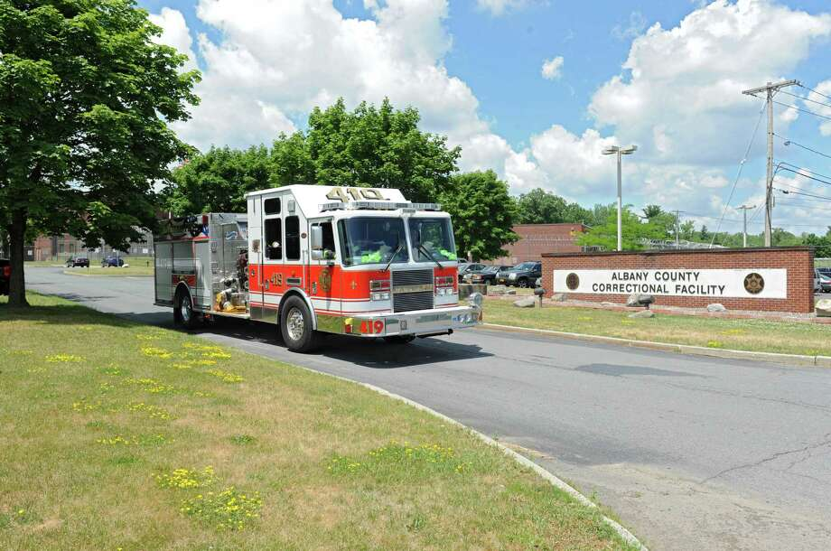 A fire engine leaves the Albany County Correctional Facility after responding to a fire call at the jail on Tuesday, July 5, 2016 in Colonie, N.Y. (Lori Van Buren / Times Union) Photo: Lori Van Buren