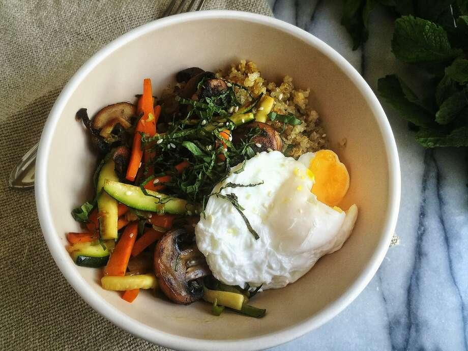 Breakfast bibimbap with poached eggs. Photo: Amanda Gold