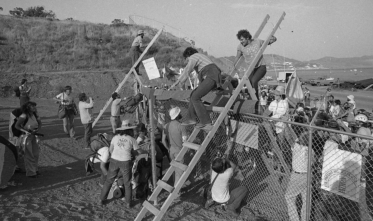 Diablo Canyon Nuclear Power Plant protests Demonstrators use ladders to climb over the fences Photos dated 8/6/1978