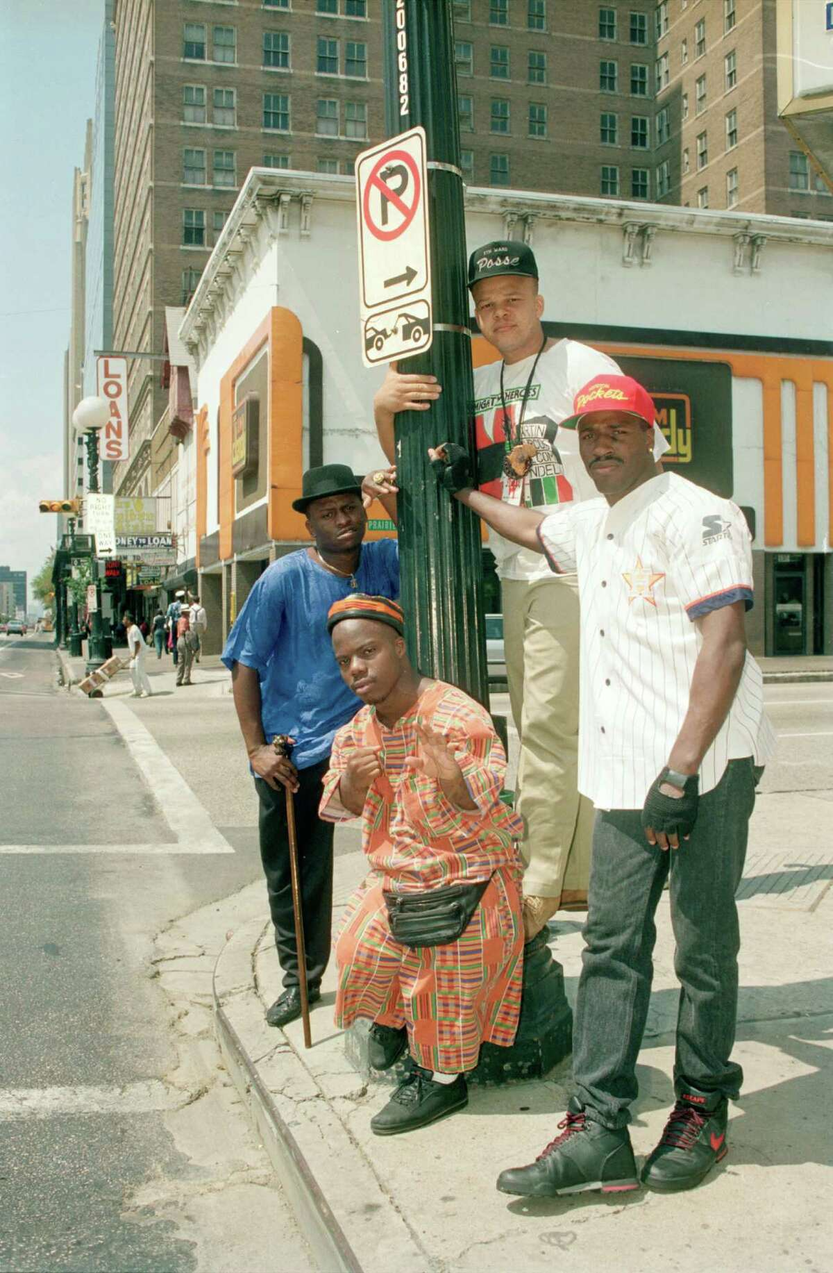 The Geto Boys in 1990: (l-r) Akshen / Scarface, D. J. Ready Red, Bushwick, and Willie D.