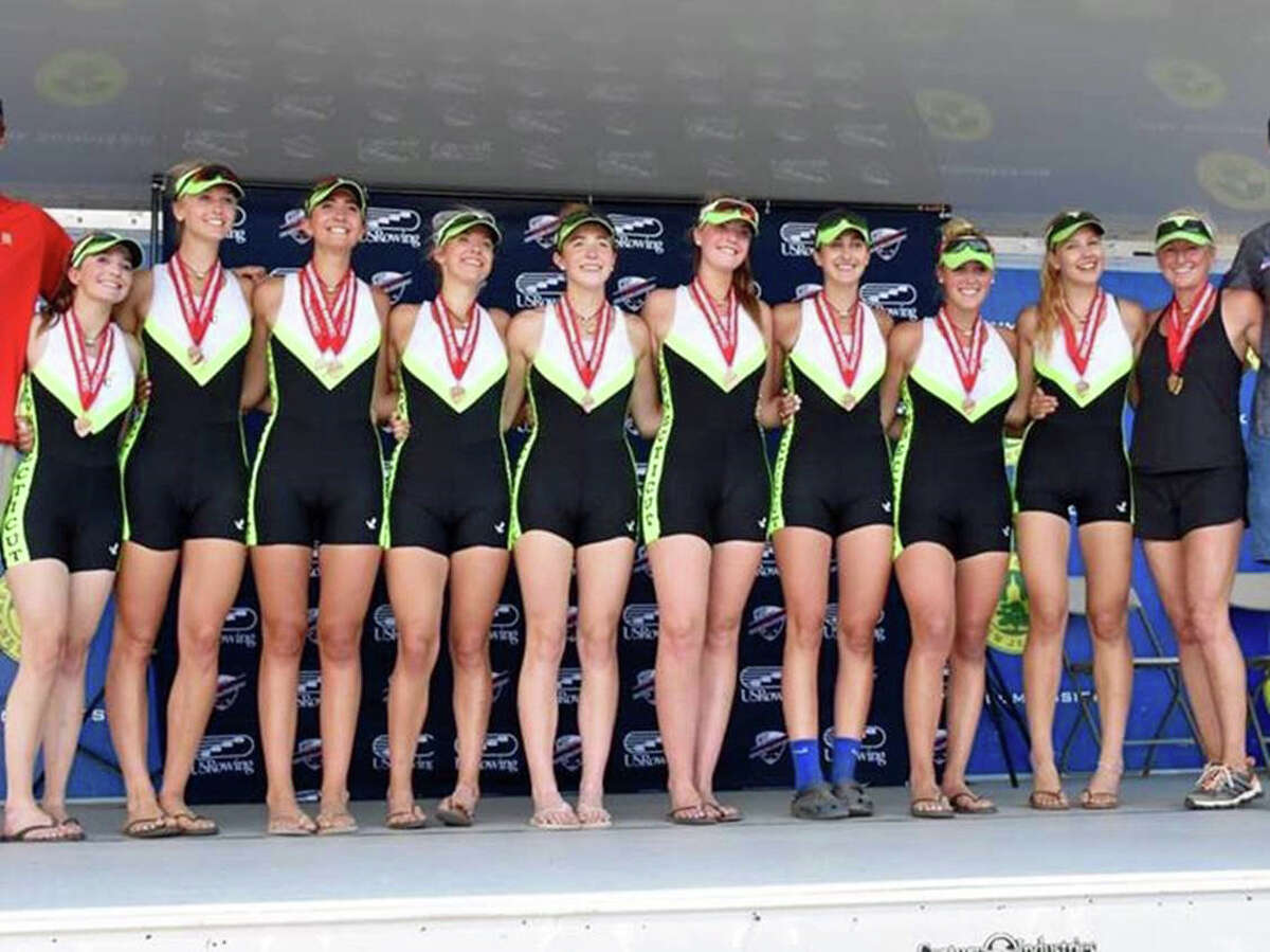 Connecticut Boat Club?'s Varsity 8 boat took bronze at the 2016 US Rowing Youth National Championships in Mercer, NJ. They are: Kaitlyn Kynast of Ridgefield, Julia Cornacchia of Darien, Katie Bower of Weston, Taylor Lust of Ridgefield, Irene McLaughlin of Darien, Lauren Squitieri of Wilton, Paige Cleary of Darien, Andy Bernhardt of Ridgefield and Sophie Perez (coxswain) of Greenwich. June 2016