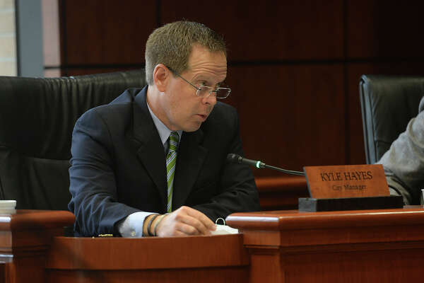 Beaumont City Manager Kyle Hayes during Tuesday's council meeting. Photo taken Tuesday, May 10, 2016 Guiseppe Barranco/The Enterprise
