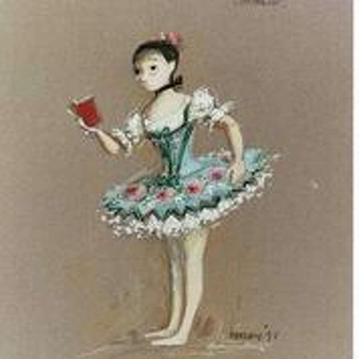 A 1992 Desmond Heeley costume sketch for Houston Ballet's Coppelia.
