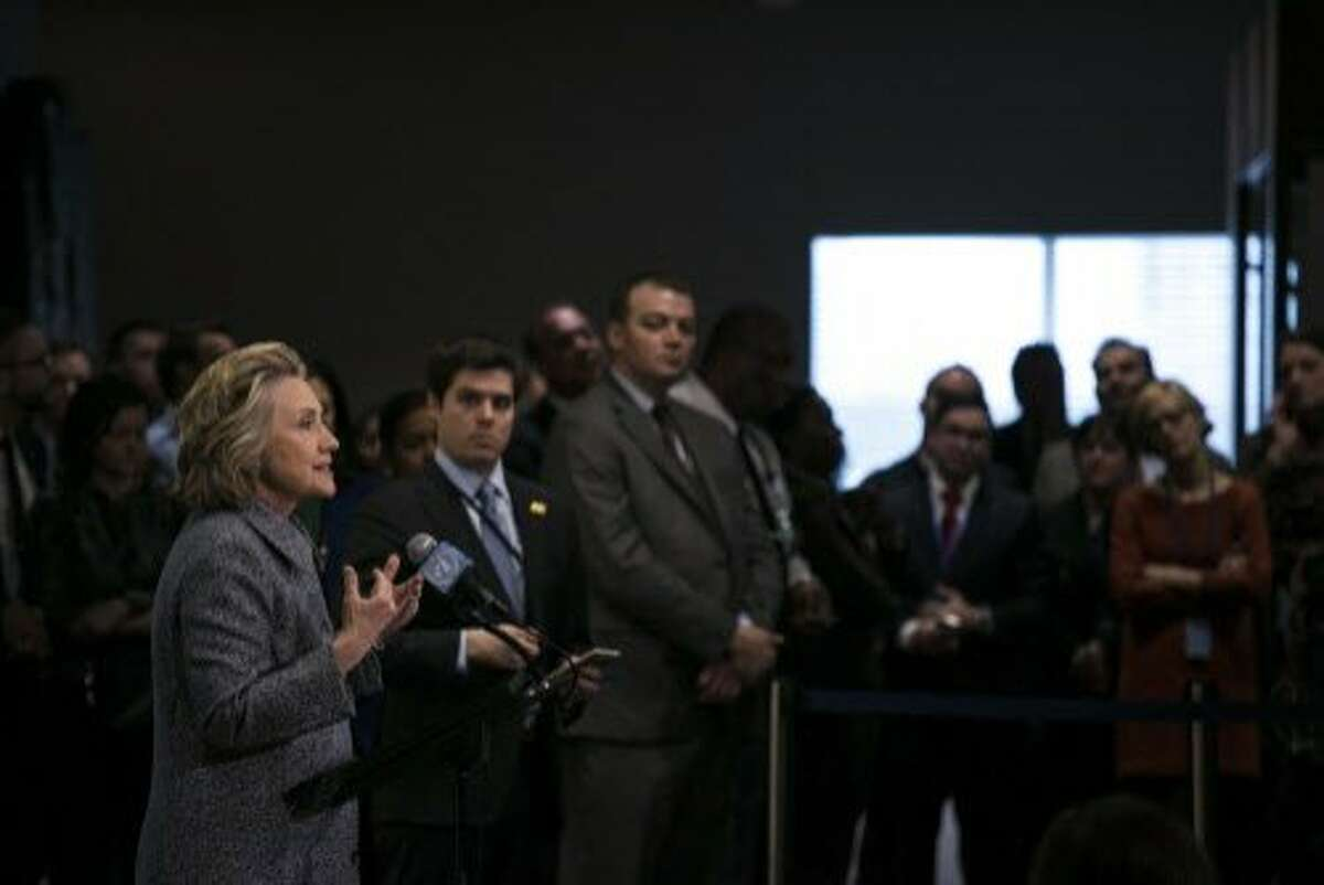 FILE-- Hillary Clinton discusses her use of a private email address during her time as secretary of state, at the United Nations in New York, March 10, 2015. Despite rebuking Clinton�s handling of her email account while secretary of state as �extremely careless,� the bureau will not recommend criminal charges in the matter, FBI Director James Comey said on July 5, 2016. (Todd Heisler/The New York Times)