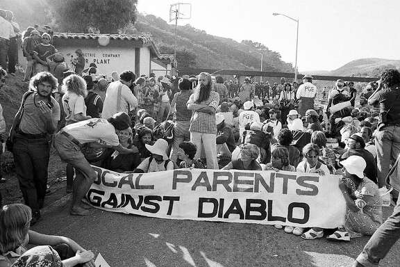 Diablo Canyon Nuclear Power Plant protests organized by Abalone Alliance Demonstrators blockade and police arrest at the front gate Photos dated 9/-/1981