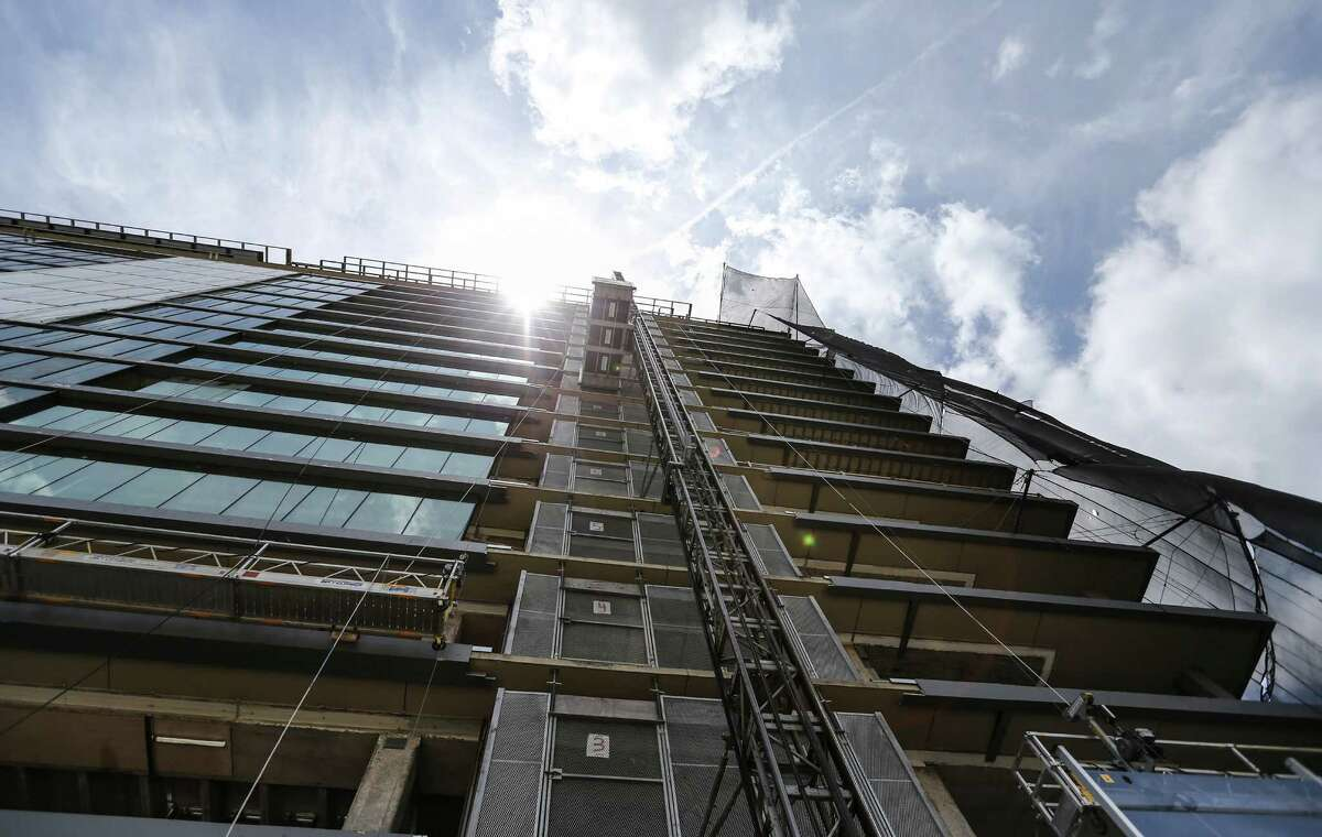 A look straight up at the River Oak luxury condos at 3433 Westheimer Road, photographed on Tuesday, July 5, 2016, in Houston. ( Elizabeth Conley / Houston Chronicle )