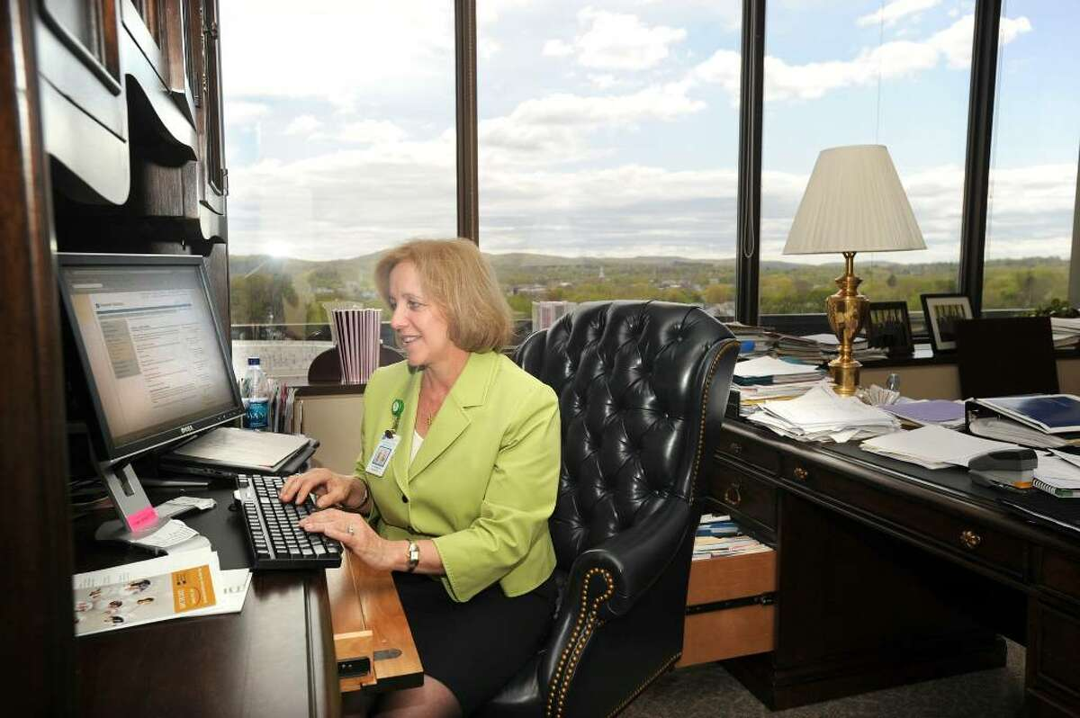 Catherine S. Halkett, President of the Danbury Hospital Development Fund Inc., working at her desk at Danbury Hospital. Halkett's team used social media to significantly raise the amount of money they were fundraising. Photo taken Monday, April 19, 2010.