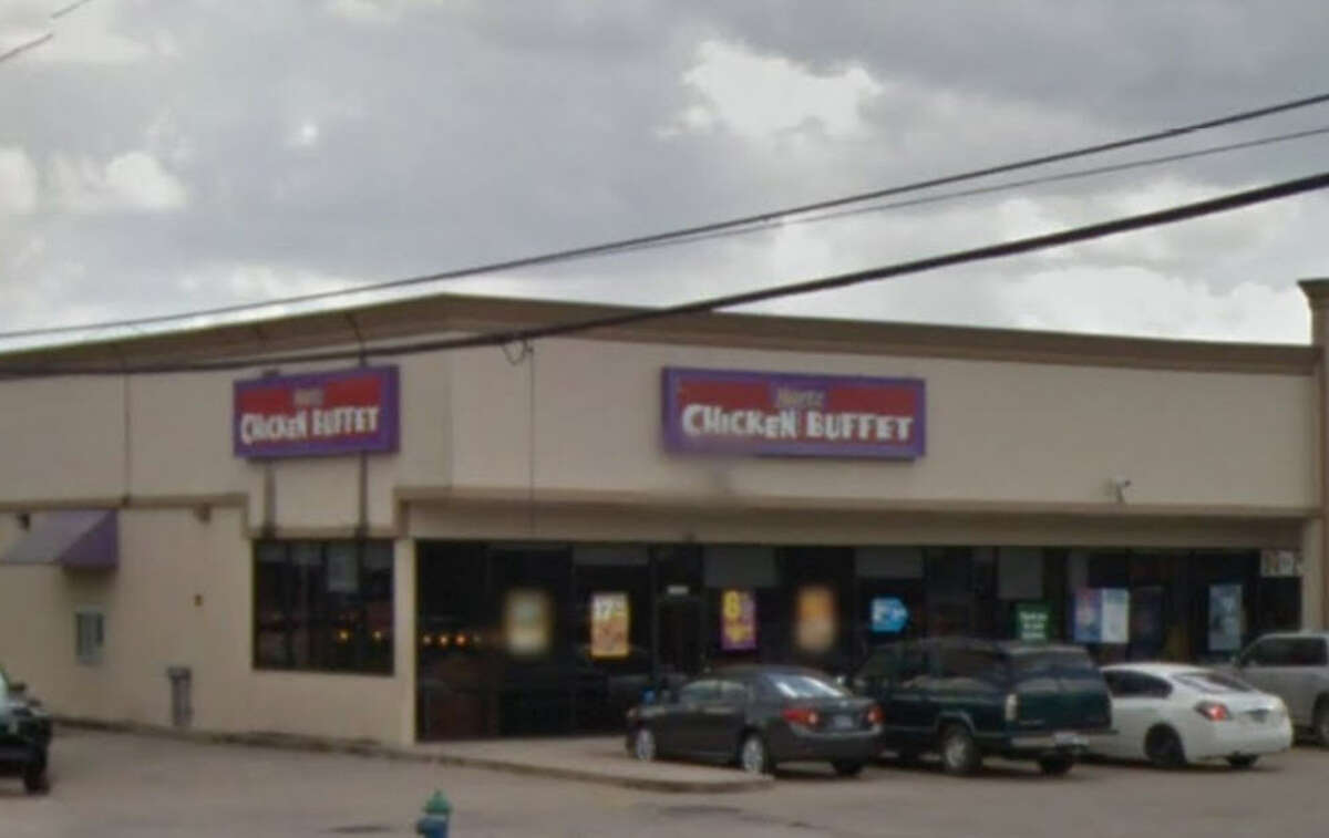 Hartz Chicken Buffet #186 Address: 7590 N Wayside Dr., Houston, Texas 77028 Demerits: 6 Inspection highlights: Observed food (Raw Fish 10 Lbs.) not protected from potential contamination by insects; observed fish in an open container of water with dead flies; condemned.