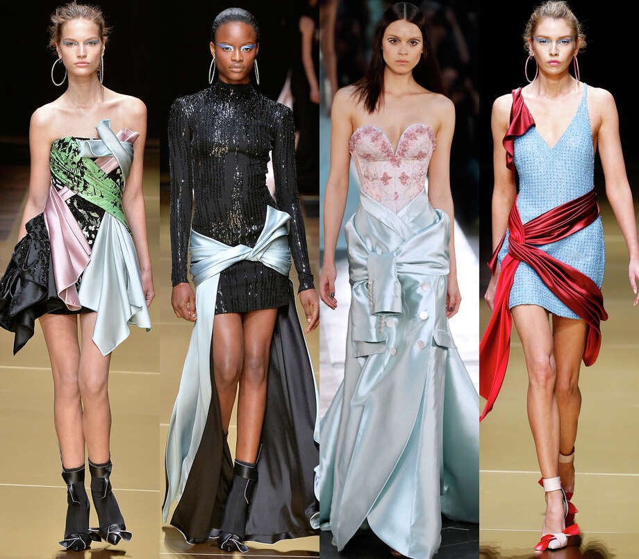 Finding literally any scrap of fabric and tying it around youIt could be a tablecloth, a satin bathrobe or a parachute. Affix it to yourself and you're ready. (Versace, Alexis Mabille) Photo: Getty Images