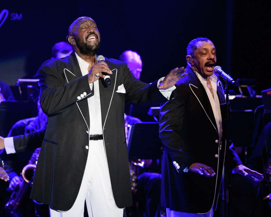Otis Williams, left, and Ron Tyson perform during The Temptations appearance in 2015. The group is coming to Stamford's Columbus Park on Wednesday, July 6. Photo: Michael Schwartz / Contributed Photo / WireImage / 2015 Michael Schwartz