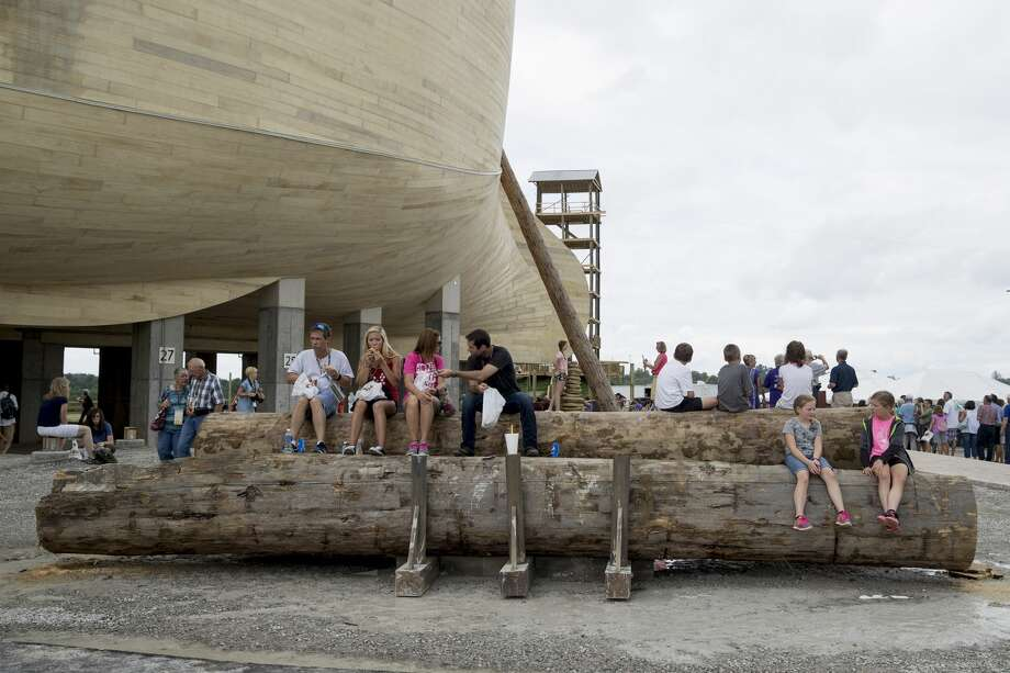 Patrons wait for tours outside the Ark Encounter July 5, 2016 in Williamstown, Kentucky. The Ark Encounter is a theme park centered around a 510 foot long reproduction of Noah's Ark. (Photo by Aaron P. Bernstein/Getty Images) Photo: Aaron P. Bernstein/Getty Images, Noah's Ark, Noah, Young Earth, Noah071616