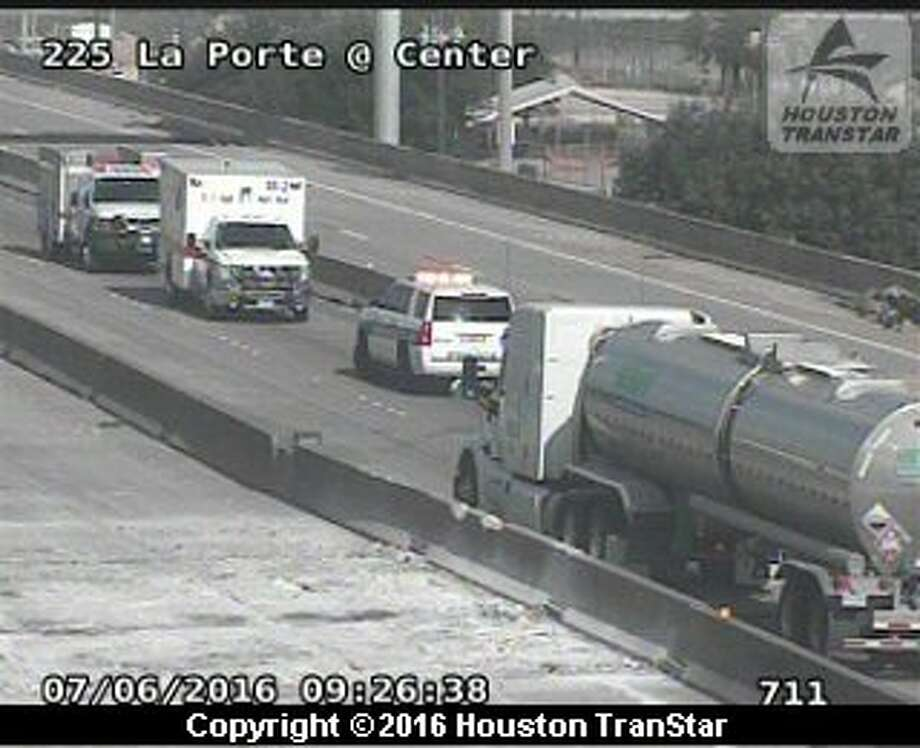 A big-rig crash about 9:30 a.m. Wednesday, July 6, 2016, shut down portions of westbound Texas 225 in the Pasadena area for about 20 minutes. (Houston TranStar)
