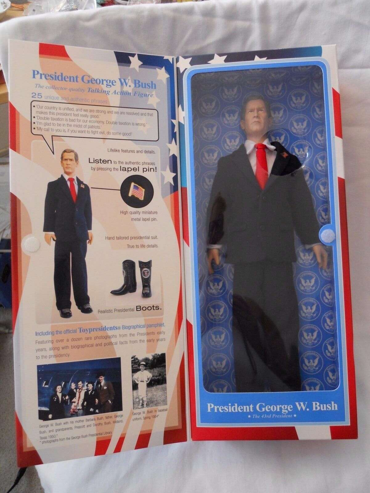 PHOTOS: Former President George W. Bush as portrayed by toys You can celebrate the birth of the 43rd President of the United States by purchasing one of several dolls featuring his likeness on eBay. Of course, some dolls are more flattering than others. Click through to see more versions of the Dubya in toy form...