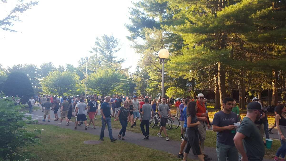 Phish concertgoers head toward Saratoga Performing Arts Center for the Phish concert on Saturday, July 2. (Gianluca Russo)