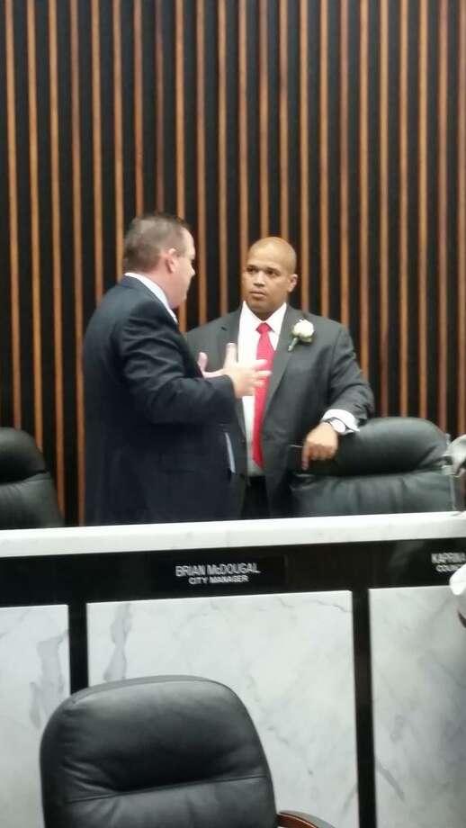 Port Arthur Mayor Derrick Freeman, right, talks with City Manager Brian McDougal on Wednesday.   Brandon K. Scott/Beaumont Enterprise