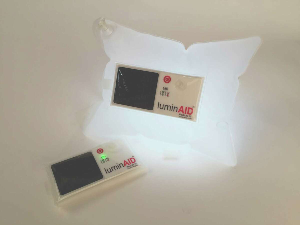 LuminAid, a solar rechargeable, waterproof and floating LED lantern.