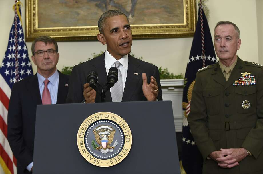 President Barack Obama, flanked by Defense Secretary Ash Carter, left, and Joint Chiefs Chairman Gen. Joseph Dunford, makes a statement on Afghanistan from the Roosevelt Room of the White House in Washington, Wednesday, July 6, 2016. The president said the U.S. will leave 8,400 troops in Afghanistan when he completes his term, down slightly from the current number but well up from the 5,500 he announced previously, arguing America's interests depend on helping Afghanistan's struggling government fight continuing threats from the Taliban and others. (AP Photo/Susan Walsh) Photo: Susan Walsh, Associated Press