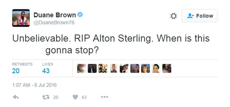 Houston Texans' tackle Duane Brown reacts on Twitter to the police shooting of Alton Sterling. Photo: Twitter