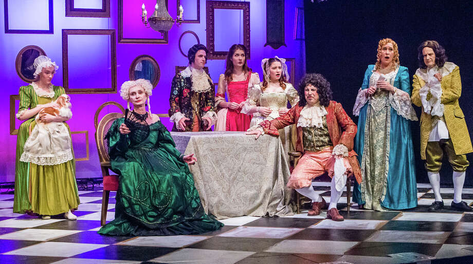 The Sherman Playhouse will open its production of Molière's 17th-century comedic farce Tartuffe July 8 at 8 p.m. Following opening night, the play will be staged Fridays and Saturdays at 8 p.m. through July 31, as well as July 17 and 31 at 2 p.m. The cast is shown above during a recent rehearsal. Tickets are $22 for adults and $11 for children 12 and under. Students will be admitted for $11 any time so long as they pay in cash and carry a valid student ID. For more information, call the 5 Route 39 North theater at 860-354-3622 or visit www.shermanplayers.org. Photo: Courtesy Of Josh Seigel / ALL RIGHTS RES'D