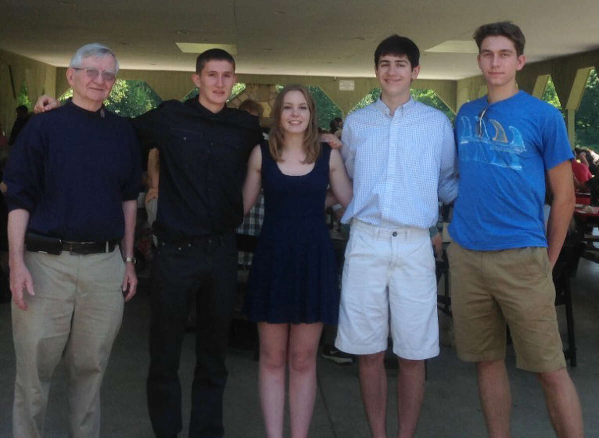 The Knights of Columbus, the Rev. Thomas F. Bennett Council No. 14318 in Washington Depot recently presented five college-bound Our Lady of Perpetual Help parishioners with scholarships. Scholarship chairman David DeWitt announced the winners at the June 19 church picnic. DeWitt, left, is shown above with, from left to right, Shepaug Valley School graduates Ryan Welsh, son of Kerry O'Toole and Maurile Welsh, who will atten Massachusetts Marine Academy to major in marine engineering; Amber-Marie Wright, daughter of Tammy Fitzpatrick, who will attend Wheaton College to major in international relations and political science; John Carlos da Fonte, son of Carlos and Laura da Fonte, who will attend Savannah College of Art & Design to major in 2D animation and film; and Clayton Michael Schneider, who will attend UCONN to major in engineering. Missing from the photo is Caroline Kelly, daughter of Jim and JoAnne Kelly, who will attend UCONN to major in bio-medical engineering.