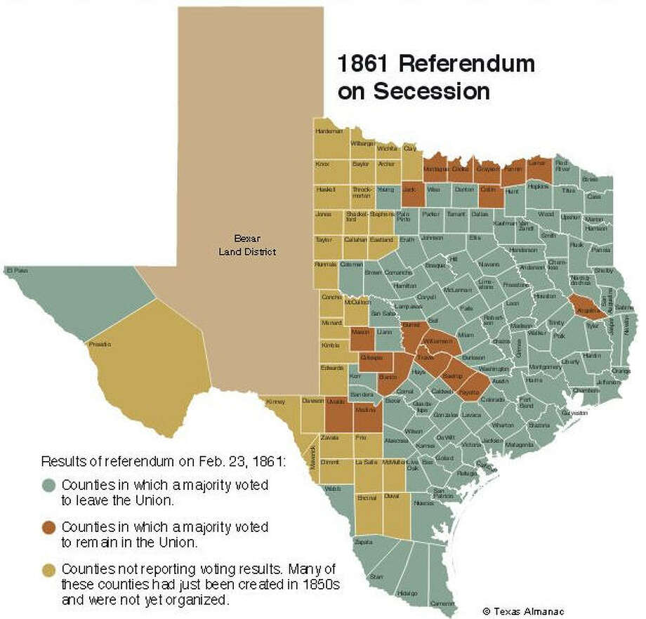 In 1861, the brown counties voted to remain in the Union, the blue counties voted to leave the Union while the yellow counties had no returns. Via the Texas Almanac