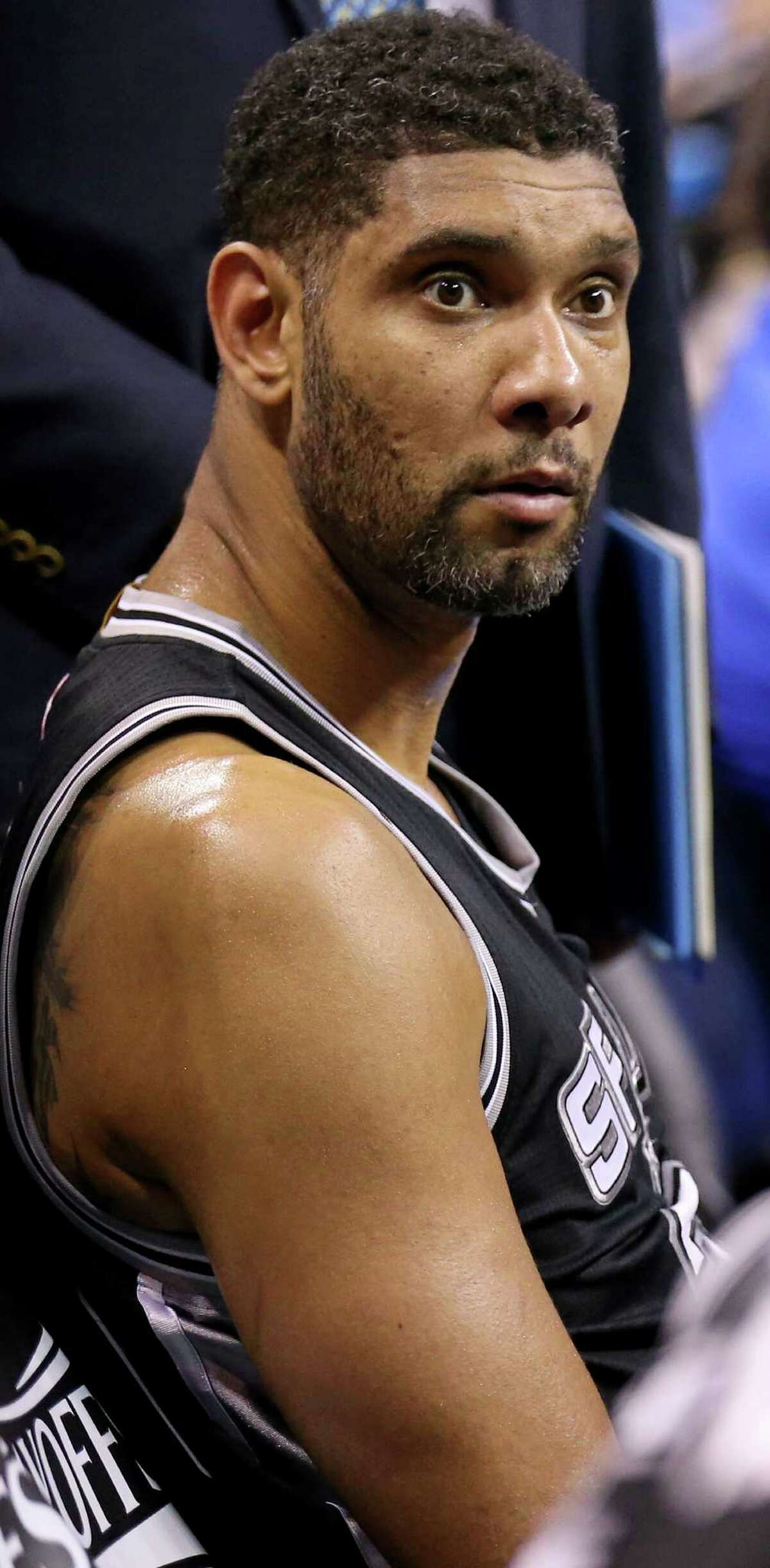 Spurs' Tim Duncan sits on the bench during second half action of Game 6 in the Western Conference semifinals against the Oklahoma City Thunder on May 12, 2016 at Chesapeake Energy Arena.