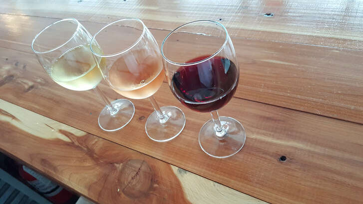 Wine flights.   Nectar Wine Bar and Ale House