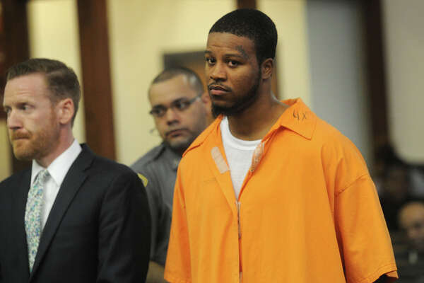 Jamal Hamilton, 24, is arraigned on charges at Superior Court in Bridgeport, Conn. on Wednesday, September 2, 2015 for the June shooting that killed Savonie McNeil, 37, of Shelton,  and wounded eight others at the Trumbull Gardens housing project in Bridgeport.