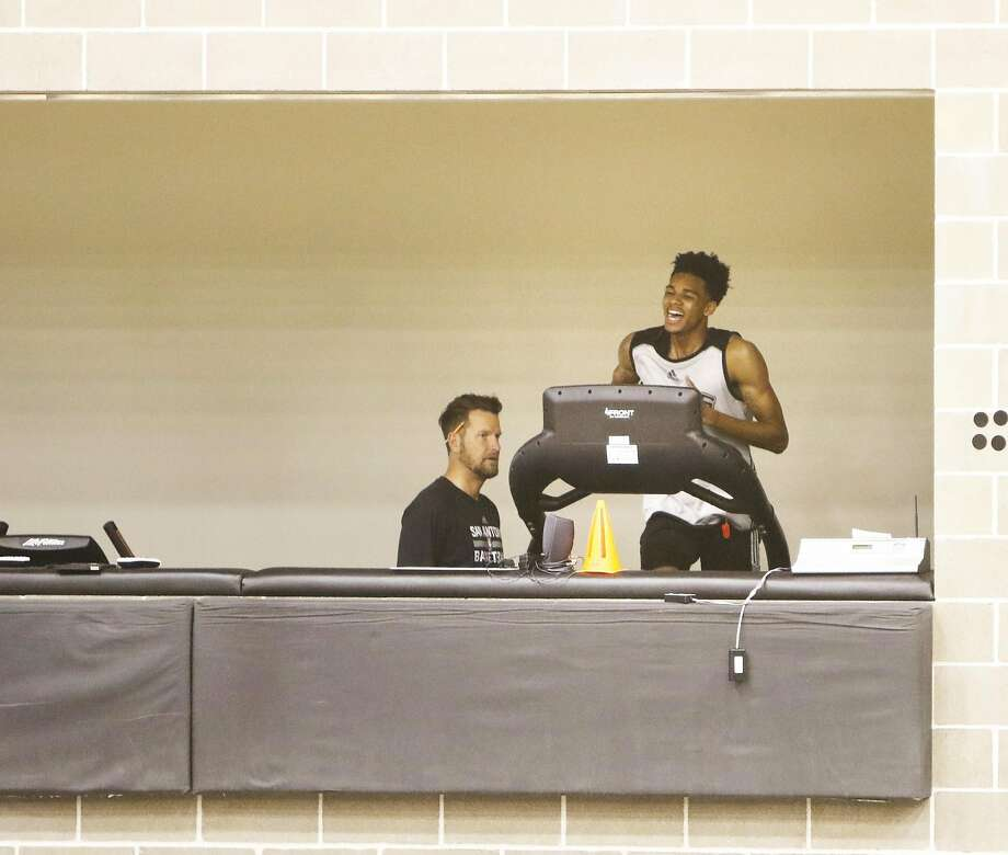 Spurs draft pick Dejounte Murray goes thru drills under the watchful eye of Kelly Forbes on Saturday, July 2, 2016 at the Spurs practice facility.Click through to see what the 19-year-old brings to the table for the Silver & Black. Photo: Ron Cortes