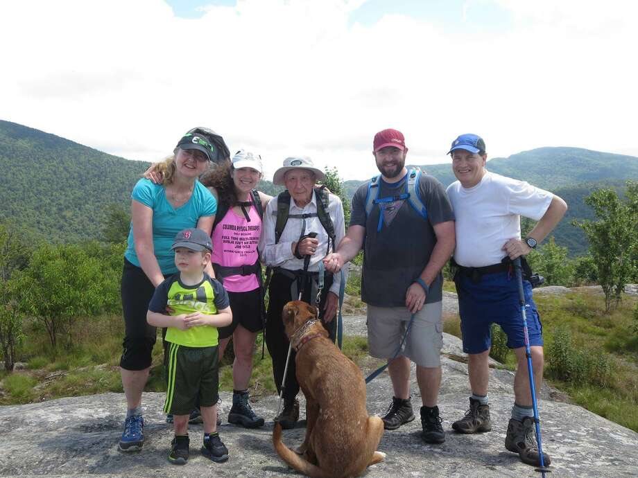 Richard Ackley, of Rome, N.Y, has been going on birthday hikes with his family for years, and inspired his grandaughter Adrienne Salvagni, of Guilderland, to love being active outdoors. On July 9, 2016, they'll celebrate Ackley's 90th birthday by climbing Castle Rock in the Adirondacks as a family. (Courtesy of Adrienne Salvagni)