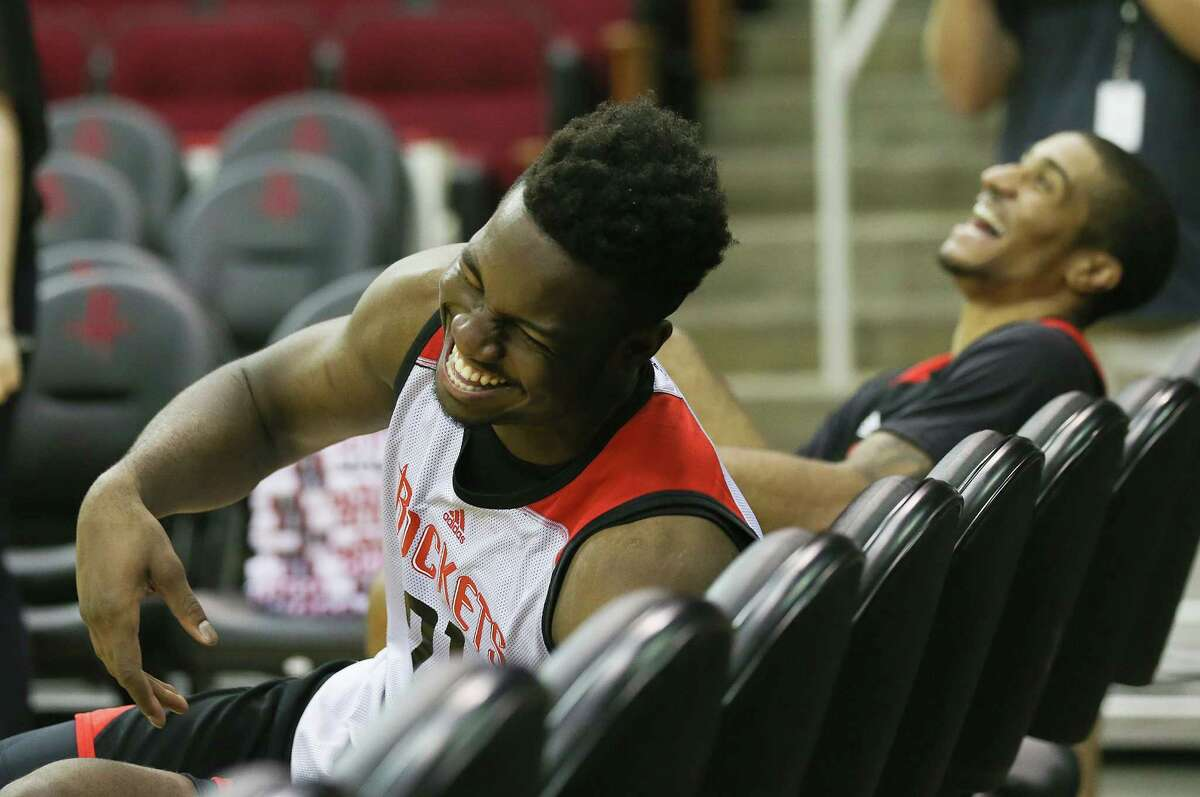 Houston Rockets' Samsung NBA Summer League teammates Chinanu Onuaku (21) and Gary Payton II (20) joke around after practice at the Toyota Center before heading to Las Vegas on Wednesday, July 6, 2016, in Houston.