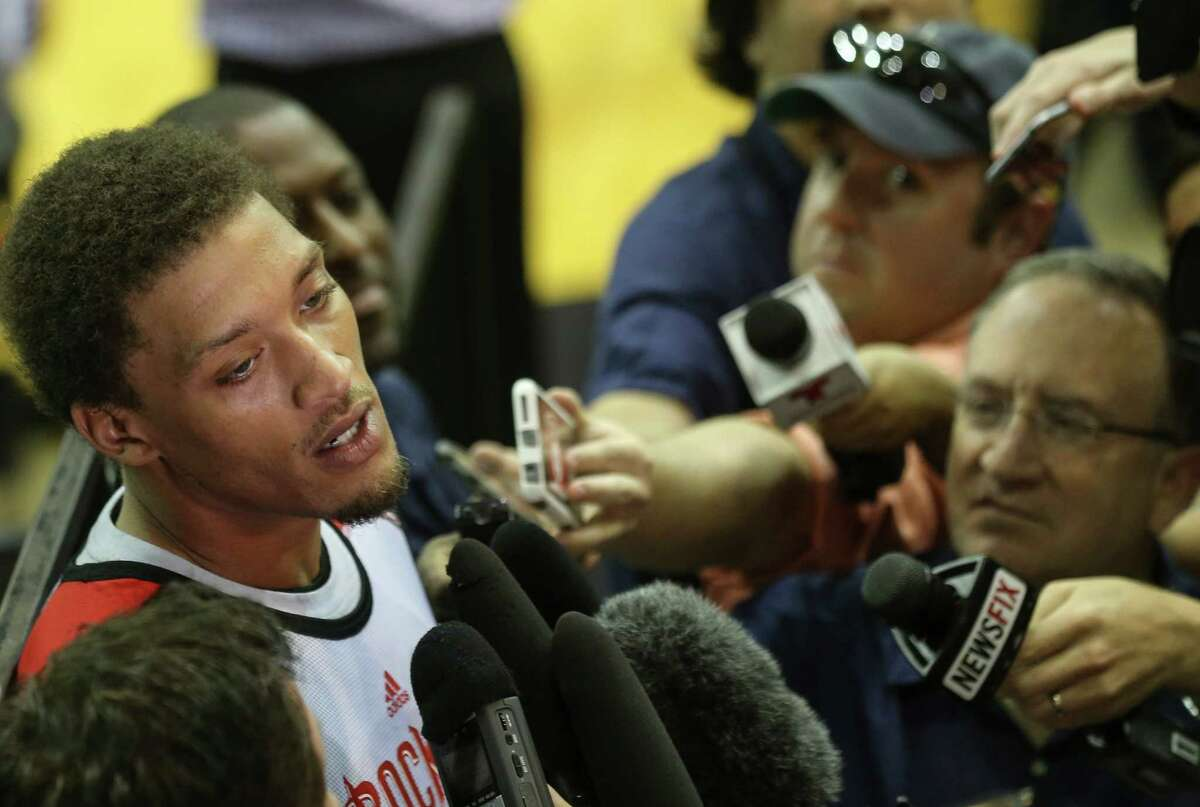 Michael Beasley (8) talks to the media after Houston Rockets' Samsung NBA Summer League practice at the Toyota Center before heading to Las Vegas on Wednesday, July 6, 2016, in Houston.