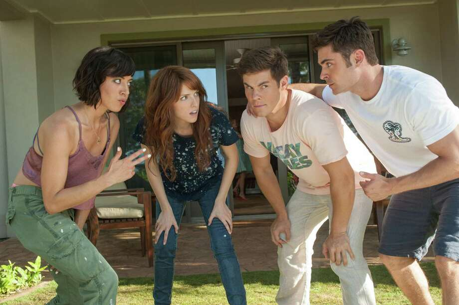"""10. """"Mike and Dave Need Wedding Dates"""": Starring Aubrey Plaza (from left), Anna Kendrick, Adam Devine and Zac Efron, this is the funniest film of the year, with comic gambits going back to the Restoration. It's right to acknowledge this kind of comedy for a change — the kind that actually gets laughs. Photo: Gemma LaMana /TNS / TNS"""