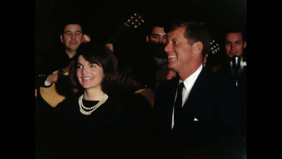 Jacqueline Kennedy and President John F. Kennedy devoted a few minutes of the final night of his life speaking to a crowd of wildly excited LULAC activists in the Crystal Ballroom of the Rice Hotel in Houston. Historians consider it the first time a president of the United States spoke to a Hispanic political group, a groundbreakding moment that made the Latino vote a significant force in American politics.  (Public Domain) Photo: Tom Atkins, Photographer / Public Domain