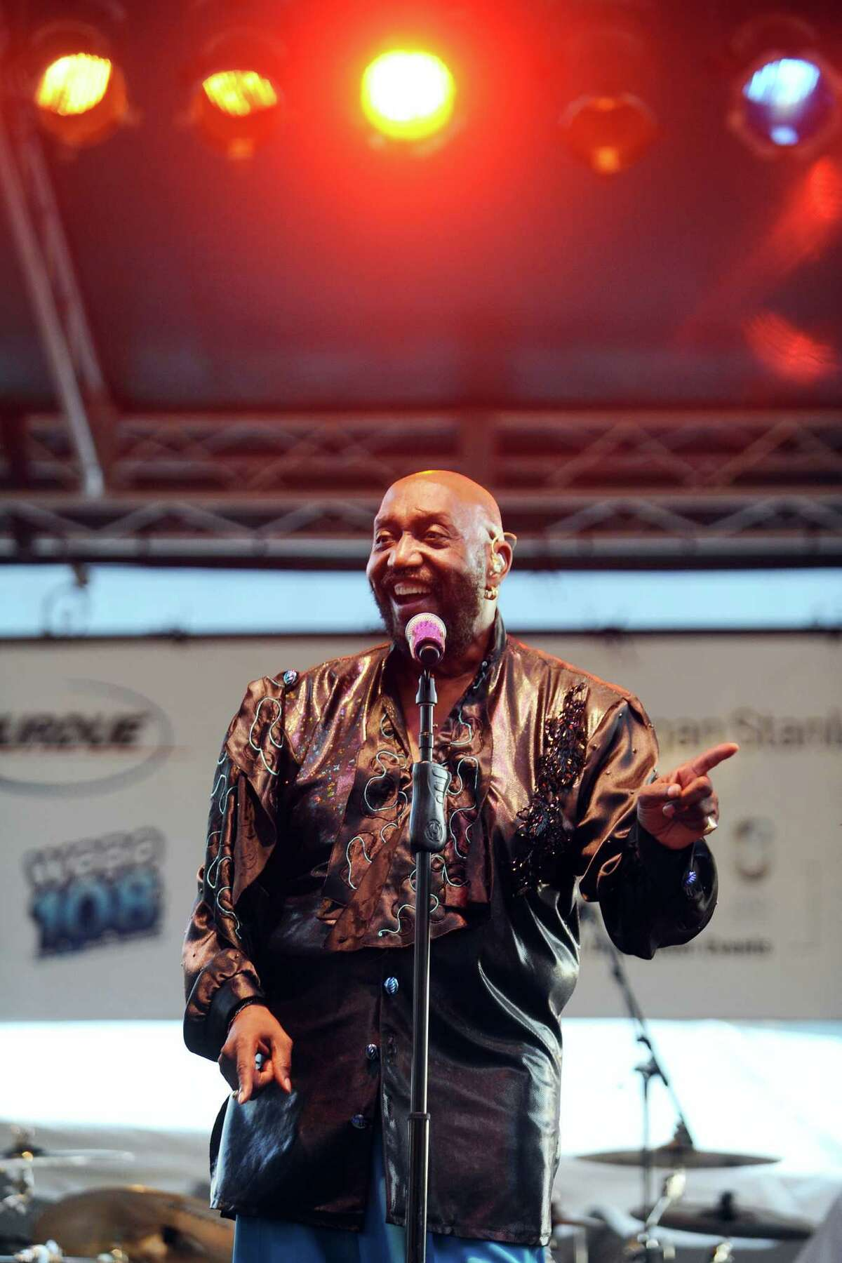 Otis Williams, a founding member of The Temptations, performs with the group at Stamford's Wednesday Nite Live concert at Columbus Park on Wednesday, July 6, 2016.