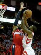 As a Wizard last season, Nene shows the Rockets his defensive skills.