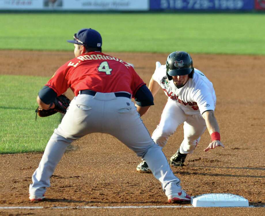 Tri-City ValleyCats' Ryne Birk (8), right, returns to first base after attempting to steal second during their baseball game against the State College Spikes on Wednesday, July 6, 2016 in Troy, N.Y. (Eliza Mineaux/Special to the Times Union) Photo: Eliza Mineaux / 20037198A