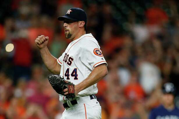 Houston Astros relief pitcher Luke Gregerson (44) reacts after striking out Seattle Mariners Dae-Ho Lee with bases loaded to end the game during an MLB baseball game at Minute Maid Park, Wednesday, July 6, 2016, in Houston. ( Karen Warren  / Houston Chronicle )