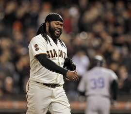 Johnny Cueto (47) smiles after striking out Charlie Blackmon swinging to end the top of the eighth inning as the San Francisco Giants played the Colorado Rockies at AT&T Park in San Francisco, Calif., on Wednesday, July 6, 2016.