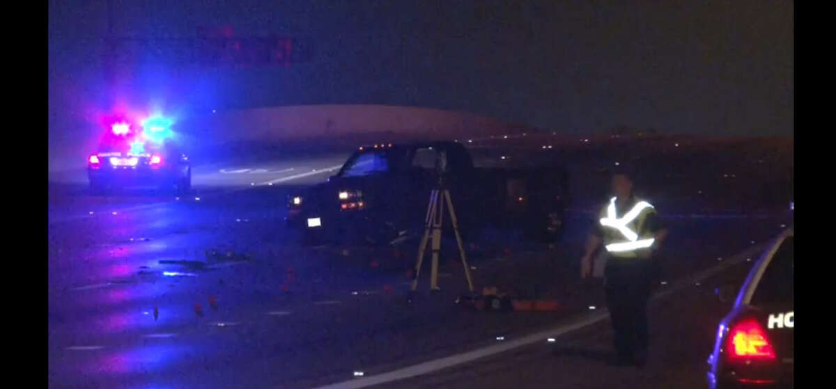 A man died and five other people, including two children, were injured about 10:45 p.m. Wednesday, July 6, 2016, when their car slammed into the back of a slow-moving pickup truck on the westbound 610 Loop in north Houston. (Metro Houston)