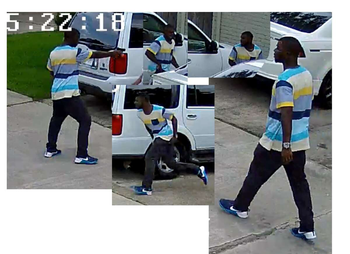 Surveillance photographs of a suspect who robbed a man as he returned home from a grocery store about 4:20 p.m. June 7, 2016, in the 8300 block of Leamont in southwest Houston. (Houston Police Department)