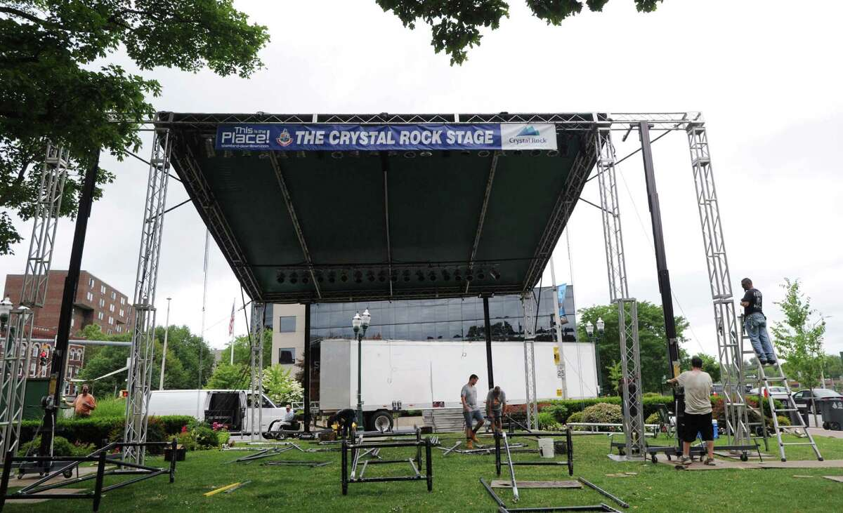 The Randy Thomas Event Management Company of Trumbull sets-up the Crystal Rock Stage for Alive@Five and the Wednesday Nite Live Concert Series in Columbus Park, Stamford, Conn., Friday afternoon, July 1, 2016. The Temptations play the Wednesday Nite Live event, on Wednesday July 6 and O.A.R. is to debut this summer's Alive@Five series on Thursday July 7.