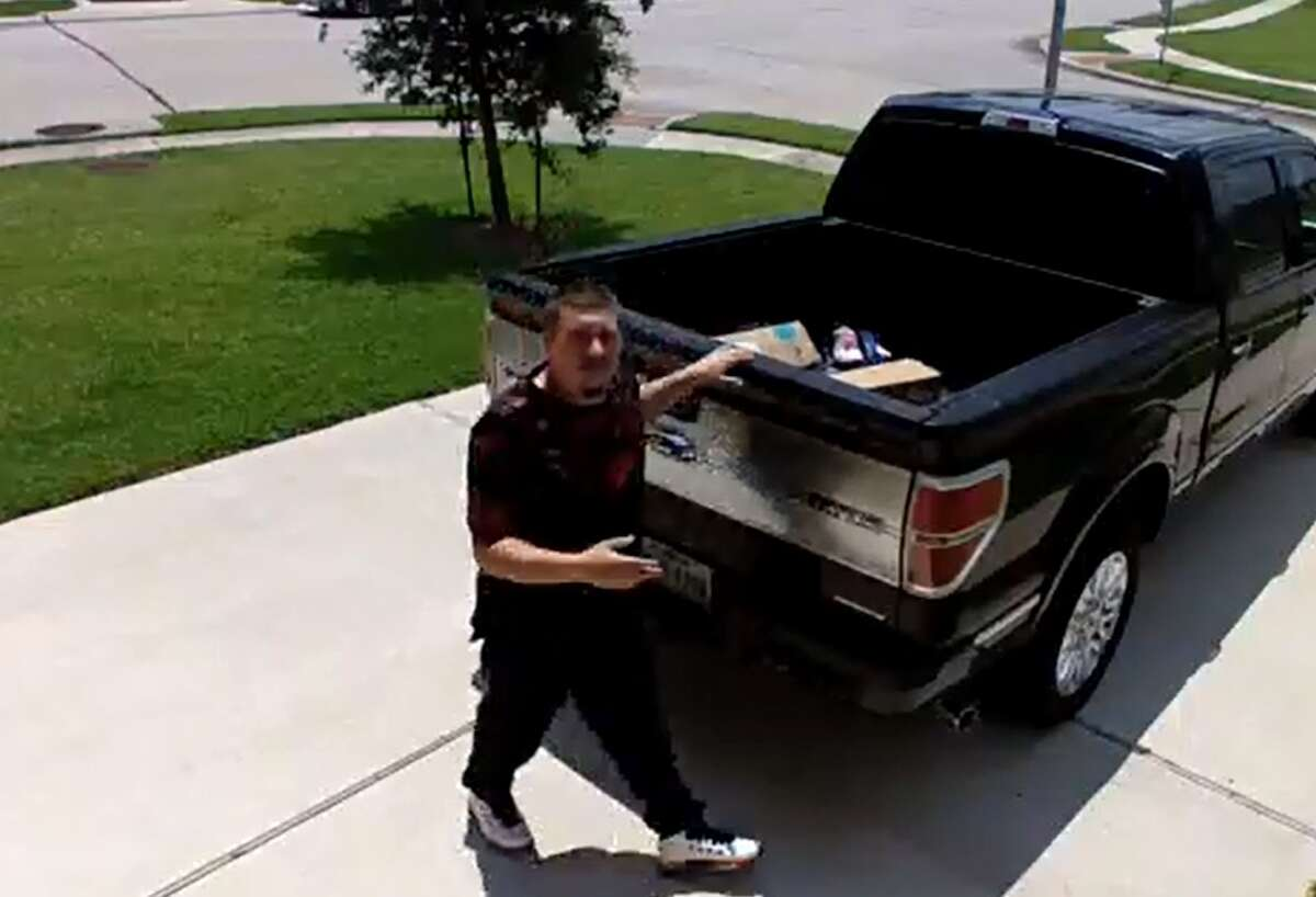 Authorities are searching for a man caught on surveillance camera about 2 p.m. June 28, 2016, snatching packages from the front porch of a home in the 4600 block of Poppy Crest Court near Koeblen Road in the Richmond area. (Fort Bend County Sheriff's Office)