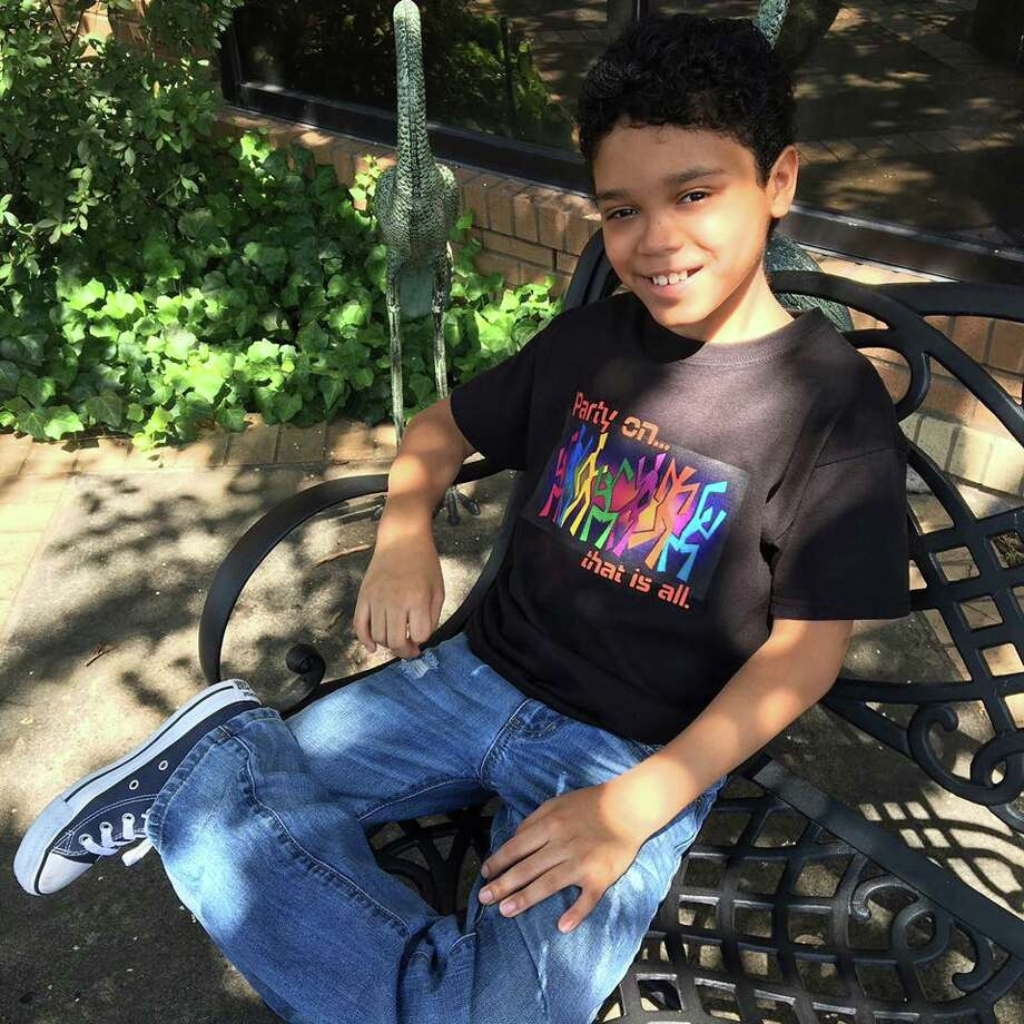 Houston child actor Gabriel Silva poses in a t-shirt included in his new fashion line, which raises awareness and funds for bullying prevention.