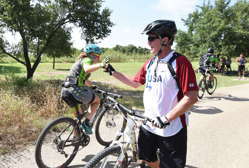 President Bush's 70th Birthday bike ride with vets at Prairie Chapel Ranch in Crawford, TX. Photo by Grant Miller